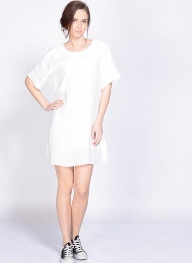 Mink Pink Kısa Kollu Düz Elbise Beyaz